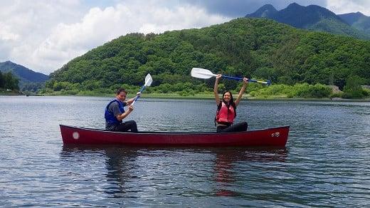雄大な富士山をバックに湖を満喫!