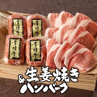 常陸牛ハンバーグ4個&茨城豚ロース生姜焼き450gセット木箱入り【肉のイイジマ】
