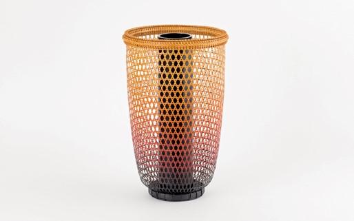 【竹工芸】色変り六つ目編花籠