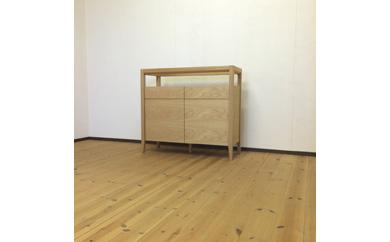 【ガラストップリビングボード90cm・オーク材】おしゃれなお部屋の演出に最適な無垢とツキ板を使ったリビングボード<オーク材 オイルフィニッシュ>mufactory