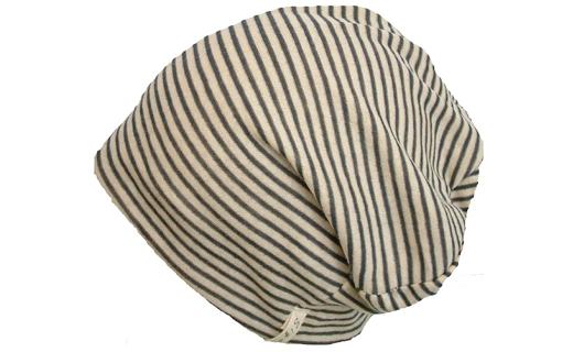 【ブラックボーダー】室内用帽子オーガニックコットンボーダーシャロット