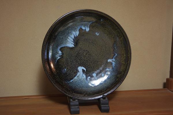 【陶器】遊翠窯 なまこ釉中皿