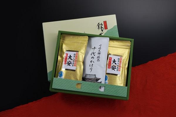 川崎大師銘茶千代のかほり、金箔入抹茶使用抹茶入玄米茶大安 セット