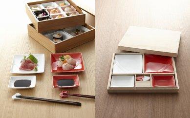 【miyama.】水引風紅白のお皿と箸置をセット(結び切り)