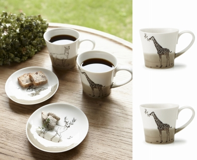 【miyama.】(キリン×キリン)食卓が動物園に!可愛い美濃焼のマグカップ