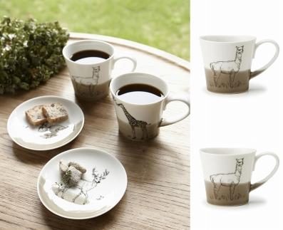 【miyama.】(アルパカ×アルパカ)食卓が動物園に!可愛い美濃焼のマグカップ