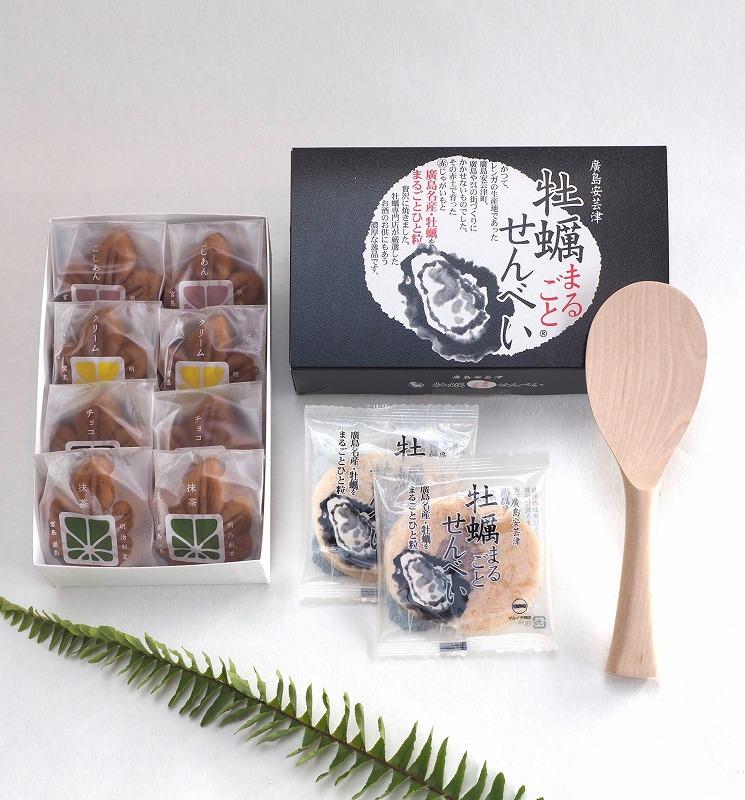 宮島3点セット(もみじまんじゅう、牡蠣まるごとせんべい、杓子)