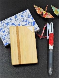 木製名刺入れとおりづるボールペンセット