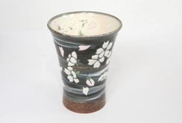 【受注生産】桜模様ロンググラス(グレー)