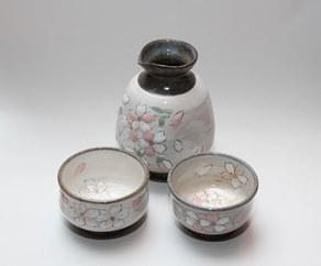 【受注生産】盛付桜とっくり&おちょこ2個セット(白)