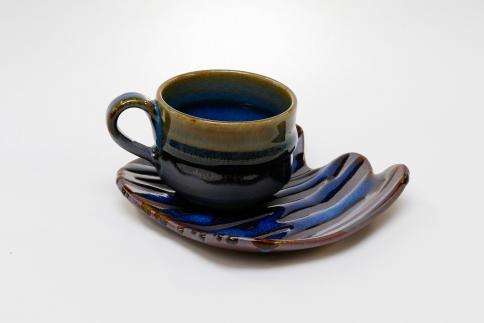 「【楢岡焼】掛け分けコーヒー碗皿」楢岡陶苑