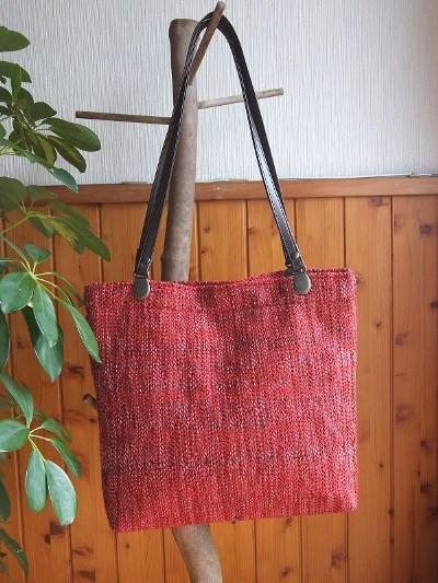 綾織のシヨルダー&手提げバッグ(赤)