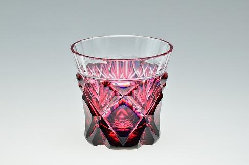 島津薩摩切子二色冷酒杯C-251ルリ金赤