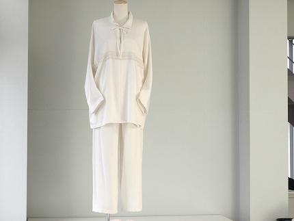 シルクパジャマ襟付 飾りシルクレース 丹後シルク