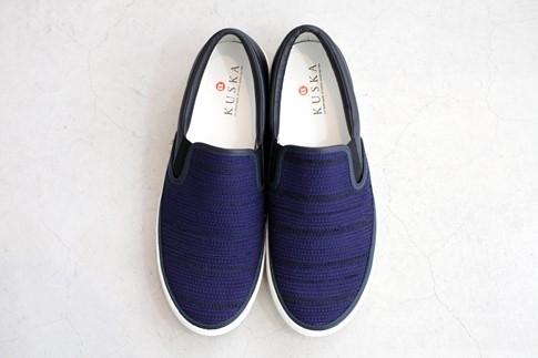 KUSKA裂織スニーカー【紺/24cm】江戸時代中期からある裂織り駆使したおしゃれなスニーカー