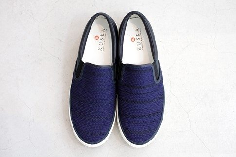 KUSKA裂織スニーカー【紺/27cm】江戸時代中期からある裂織り駆使したおしゃれなスニーカー