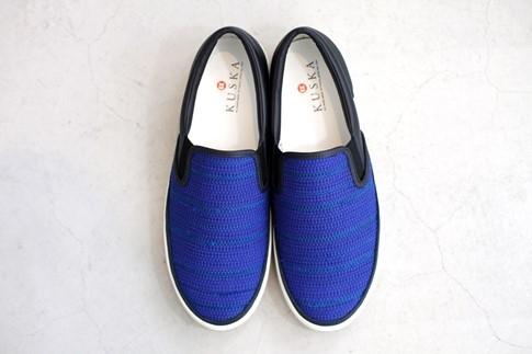 KUSKA裂織スニーカー【青/24cm】江戸時代中期からある裂織り駆使したおしゃれなスニーカー