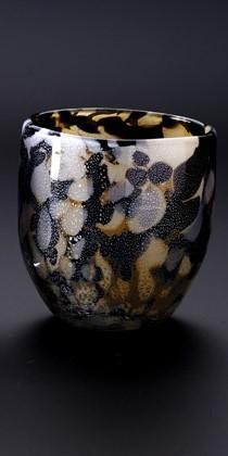 琉球ガラス「石畳グラス(茶色)」【沖縄県工芸士 我謝良秀 作】
