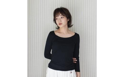 《絹生活研究所》インナー/レディース/8分袖/ブラック/Lサイズ