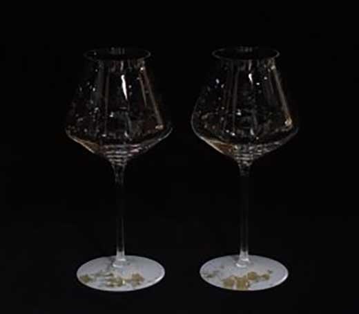 ワイングラスぺルラ2P(古代金箔・純白)
