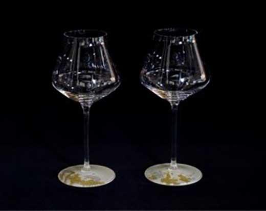 ワイングラスぺルラ2P(古代金箔・漆白)