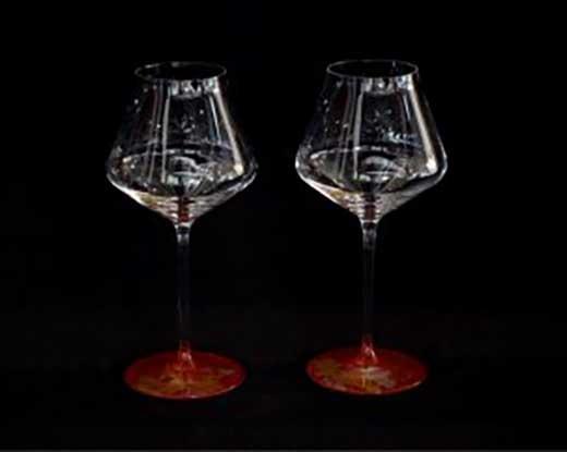 ワイングラスぺルラ2P(古代金箔・本朱)