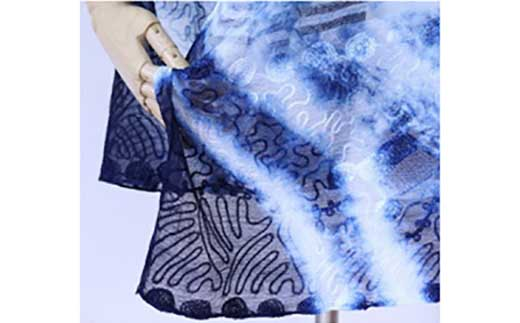 <限定>天然藍染シルク混ショール