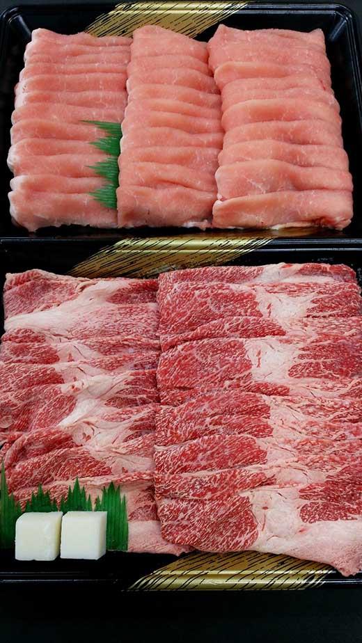 大田原産黒毛和牛肩バラ&ハーブ豚ロースすき焼き・しゃぶしゃぶセット各500g入り