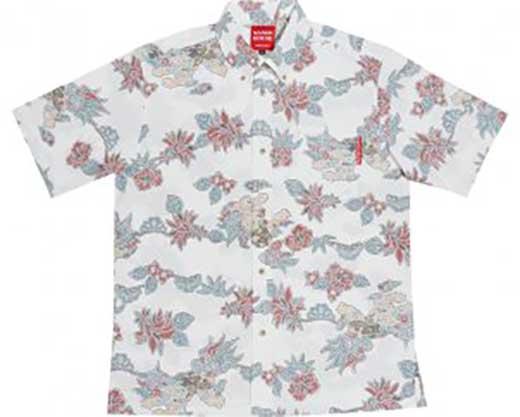 AV20-C 紅型シーサー「メンズ:アイボリー_Lサイズ」(ボタンダウンシャツ)裏地仕様