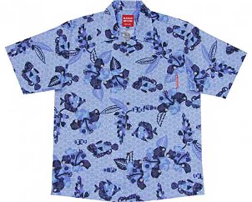AV24-C 紅型魚ハイビー「メンズ:ライトブルー_Mサイズ」(オープンシャツ)