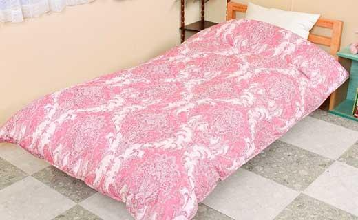 柄お任せ ツインキルト ポーランド産マザーホワイトグース羽毛掛布団シングル ピンク系