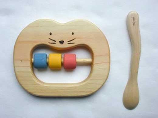 木のおもちゃ「組立てコッコちゃんJ6」&歯がため&スプーン 3点セット