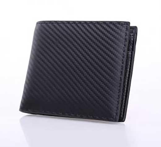 イタリアレザー二つ折り短財布(ブラック)