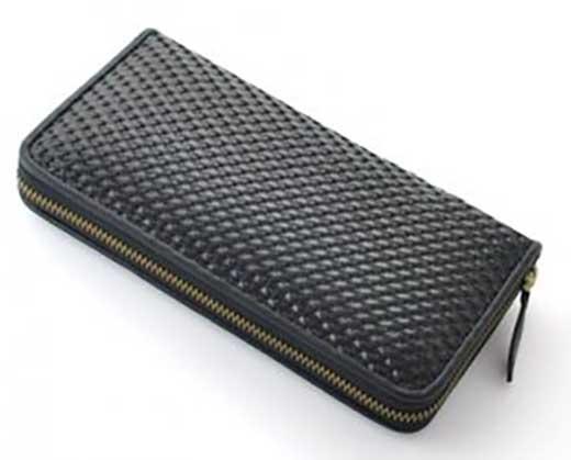 スペインレザー編み込み長財布(ブラック)