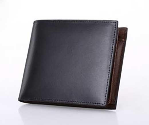スペインレザー二つ折り短財布(ブラック)