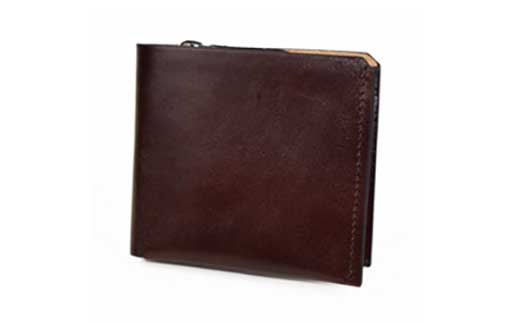 イタリアヌメ革二つ折り短財布(ブラウン)