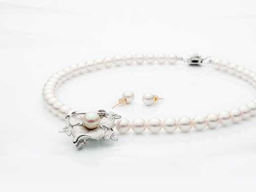 あこや真珠8ミリ珠ネックレス・ピアス(またはイヤリング)セット/ブローチ兼トップ付