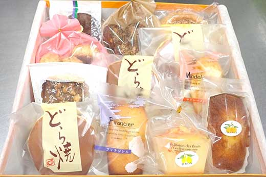 奥井日昇堂自家製「焼き菓子」(ふんわりさっくりとした特製どら焼き入り)