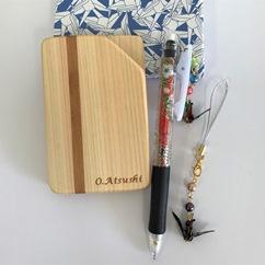 木製名刺入れ&おりづるシャーペンとストラップセット