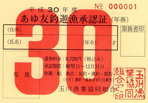 あゆ釣り遊魚承認証年券1枚