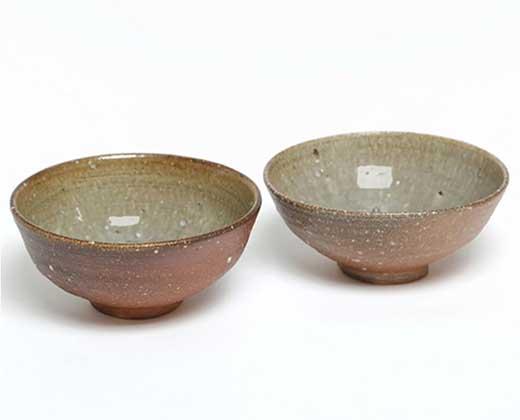 信楽焼焼締+淡海釉麺鉢二個組