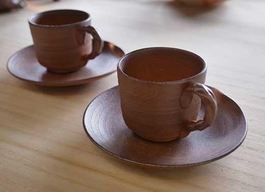 信楽焼焼締デミカップ&ソーサーペアセット