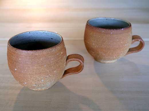 信楽焼焼締+内釉マグカップペアセット