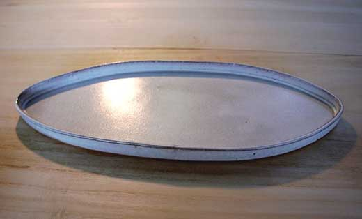 信楽焼白釉楕円プレート