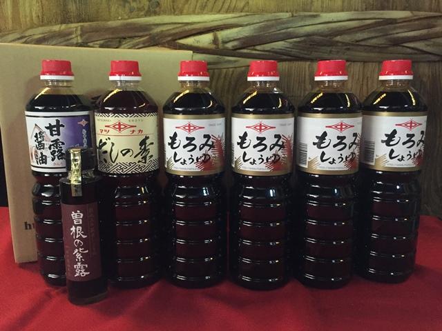 MS02-10 創業120余年【松中醤油】長期熟成手造りしょうゆもろみセット1L×6本+おまけ