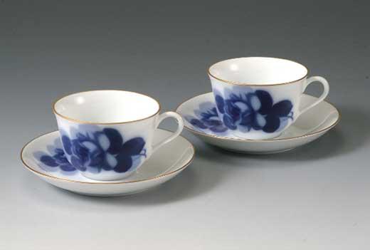 大倉陶園 ブルーローズ ティーコーヒー碗皿ペアセット