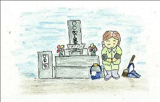 お墓の清掃と献花サービス