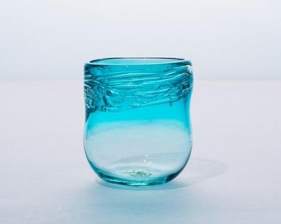 沖縄琉球ガラス 沖縄県認定工芸士 屋我平尋作 泡グラス ピーコックグリーン