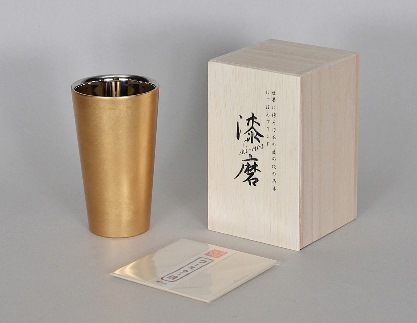 新作山中塗漆磨2重ストレートカップ 箔衣 (金澤箔/拭き漆仕上げ)