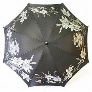 絵おり晴雨兼用長傘 百合:黒